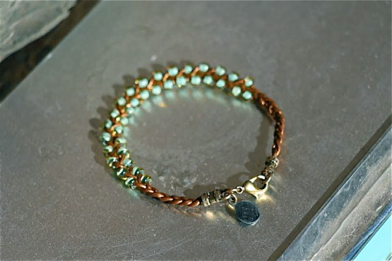 Braided Bronze Leather with Turquoise Beads